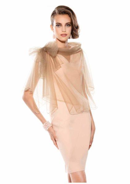 vestido coctail en crepe de seda y tul