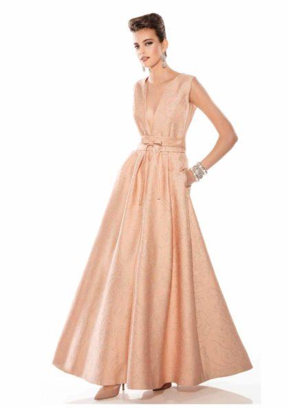 vestido de fiesta largo brocado con escote pico
