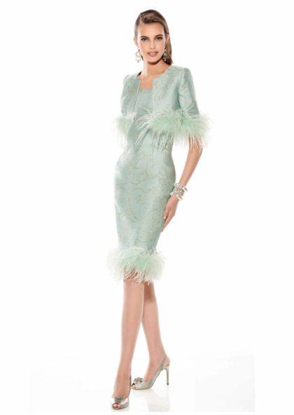 vestido y chaqueta madre de novia brocado con plumas azul