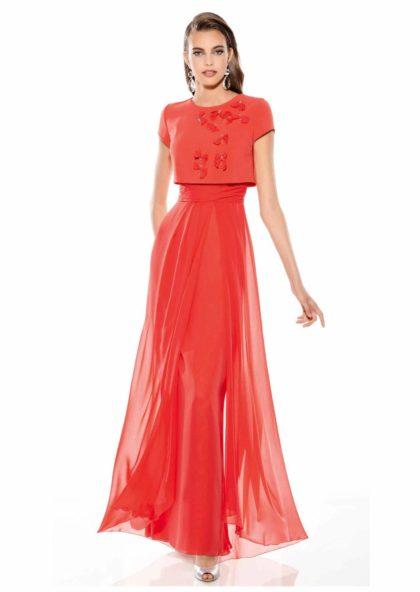 vestido largo tul rojo cereza fiesta y boda