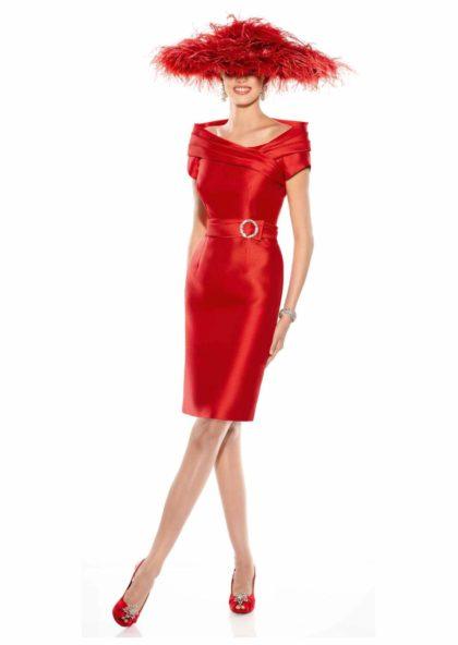 vestido coctail corto invitada de boda rojo cereza