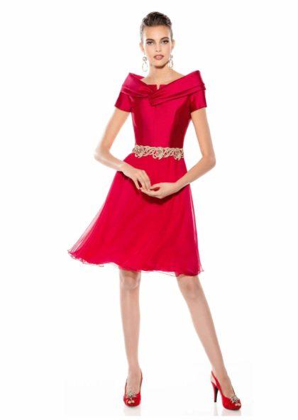 vestido corto coctail o fiesta rojo cereza en Valladolid