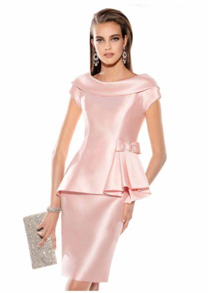 vestido corto raso rosa boda