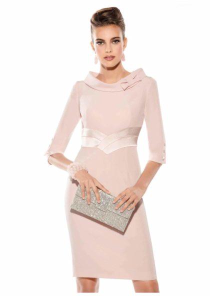vestido crepe rosa con manga al codo ceremonia