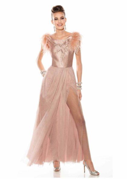vestido largo de ceremonia con falda de tul