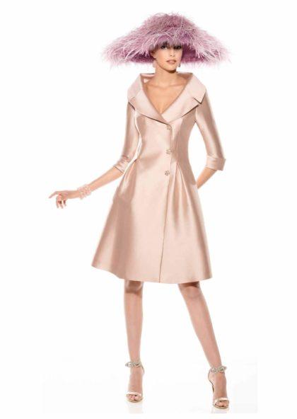 abrigo fiesta y ceremonia en raso de seda rosa