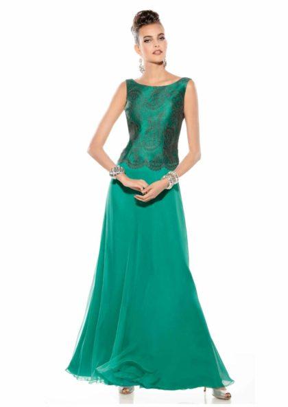 vestido largo de fiesta o boda verde en Valladolid